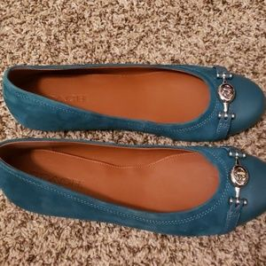 NEW Green Teal Coach Flats